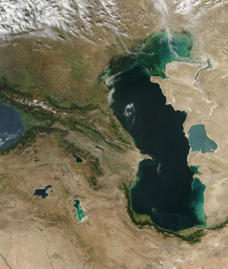Caspian Sea with eastern edge of Black Sea on left and Kara Bogaz Gol on right. Lake Urmia (= Orumiyeh ) is at the lower left (turquoise) and Lake Van in Turkey lies to its west. Lake Sevan in Armenia is to the north of Orumiyeh. From NASA and Wikimedia Commons.