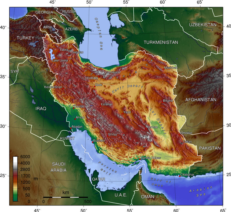 Iran topographic map from Wikimedia Commons.