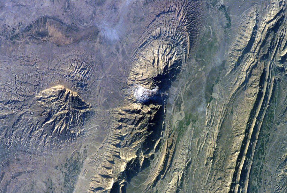 Salt dome, Zagro Mounatins, from NASA and Wikimedia Commons.