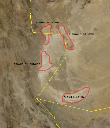 Sistan lakes from NASA and Wikimedia Commons.